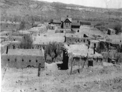 The plaza of Abiquiu, 1920. Spanish Governor Cachupin, issued a land grant to genizaros and others in the Abiquiu region around 1754. The  northern New Mexico Spanish word does not originate from an indigenous culture in New Mexico or the New World. In fact the origins of genizaro can be traced to Turkey in the Middle East.