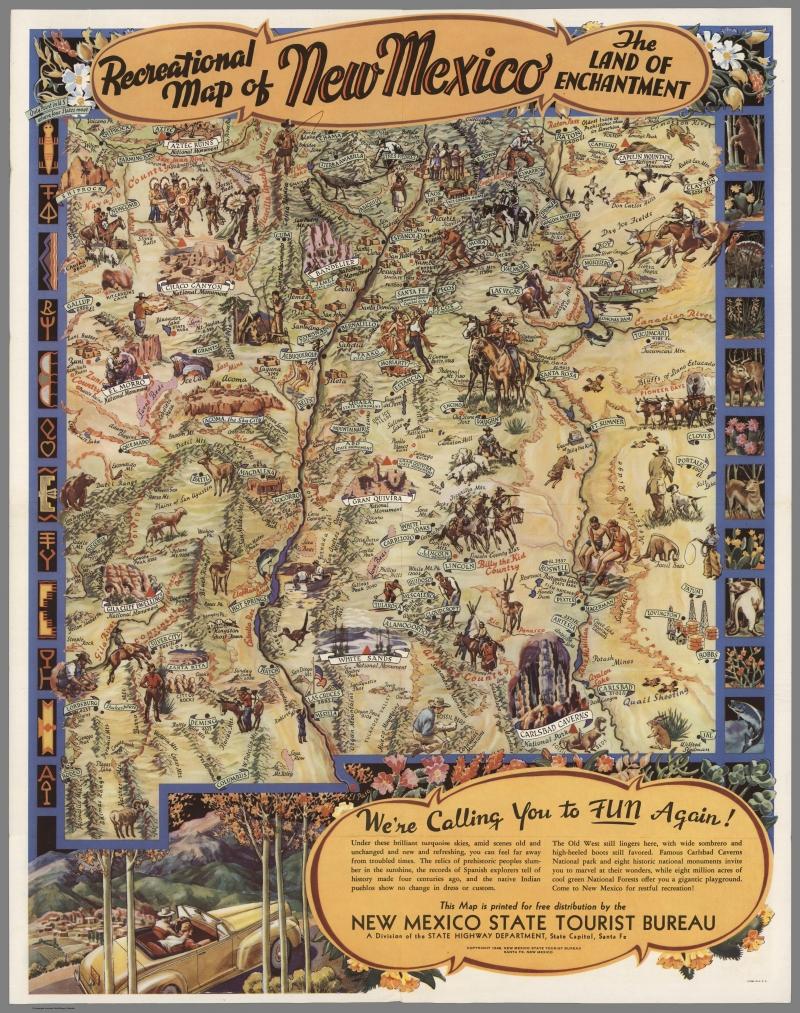 voces de santa fé recreational map of new mexico 1946