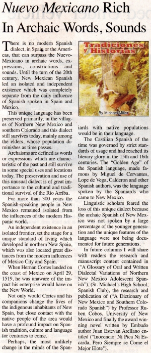 Nuevo Mexicano Rich in Archaic Words, Sounds