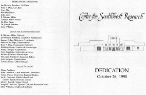 Center for Southwest Research, UNM: Dedication, October 26, 1990