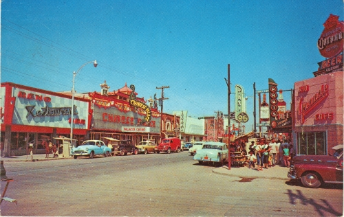 Avenida Juarez as it was during my college years.  View looking south  two blocks from border. From Mexican postcard mailed in 1960. Prominent on the left are the Reno Bar and Restaurant and the Chinese Palace bar and night club