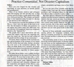 Practice Comunidad, Not Disaster Capitalism