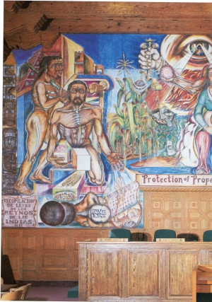 Mural by Frederico Vigil celebrating the 150th anniversary of the treaty. Located in the Santa Fe County Courthouse.