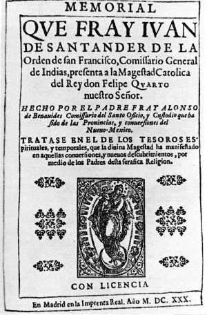 Title page of Fray Alonso Benavides' MEMORIAL, 1630.