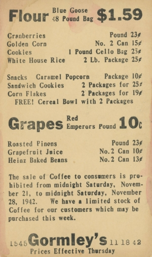 Thanksgiving 1942 - Gormley's Store Rationed Food Postcard