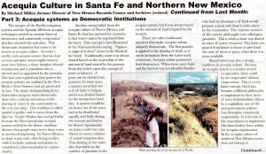 ACEQUIA CULTURE AND TRADITIONAL AGRICULTURE IN NEW MEXICO