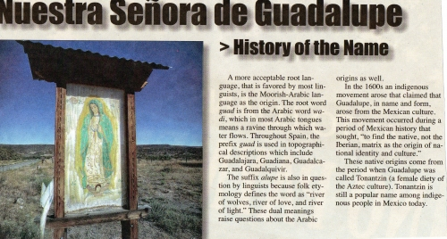Nuestra Senora de Guadalupe: History of the Name