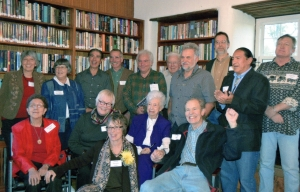 The authors/contributors of Taos: A Topical History gather for a book party.