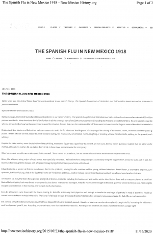 The Spanish Flu in New Mexico, 1918