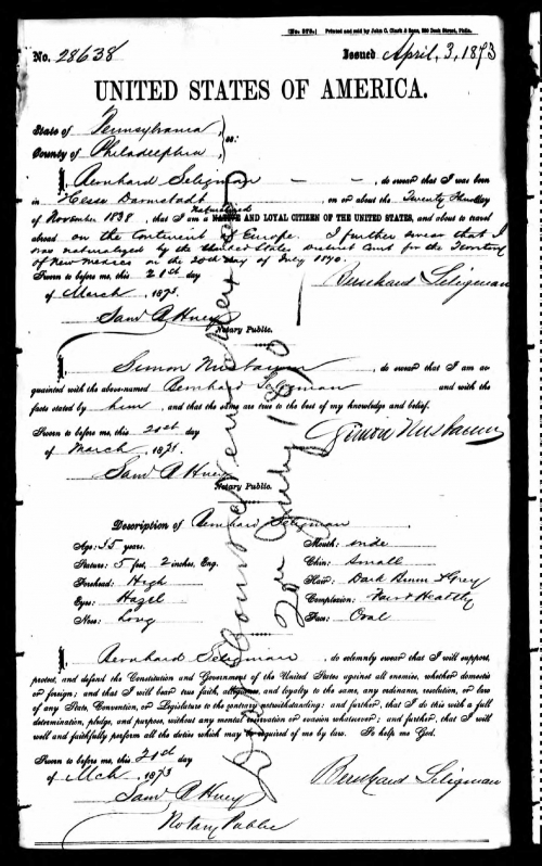 Bernard Seligman Passport Application 1873