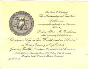 A 1917 Invitation to a Lecture Hosted by The Santa Fe Society of The Archeological Institute of America
