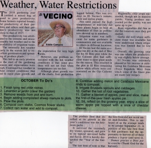 Weather, Water Restrictions