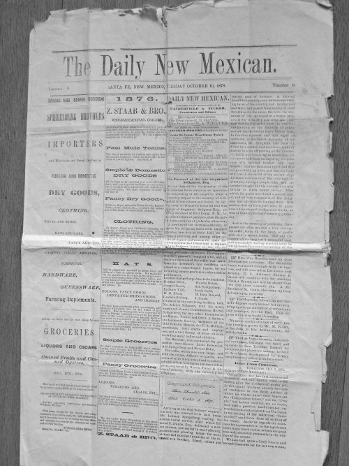 1876 Daily New Mexican page one.