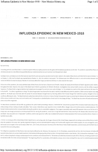 Influenza Epidemic in New Mexico, 1918