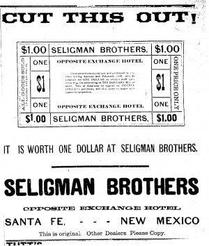 Seligman Bros. Coupon Santa Fe Daily New Mexican 1883