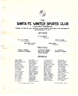 Santa Fe Winter Sports Club Members - 1938