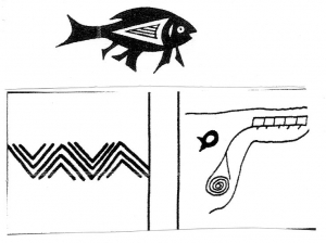 Pueblo petroglyphs of fish and river.