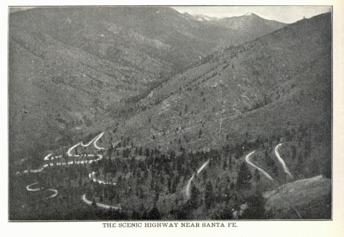 Switchbacks ascending from Santa Fe Canyon and up to the Dalton Divide.  The Peak at the top of the Canyon is Lake Peak (From Frost, 1904)