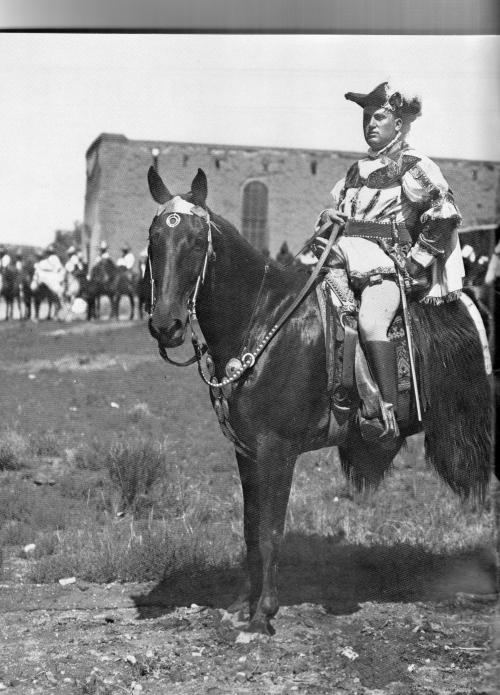 George Washington Armijo, a former Rough Rider, protrayed Vargas in the 1912, fiestas. A Statehood celebration that featured New Mexico's multi-cultural history.