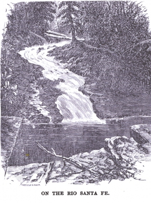 "Drawing of the Old Stone Dam from"" Illustrated New Mexico,"" by the Territorial Bureau of Immigration, 1893."