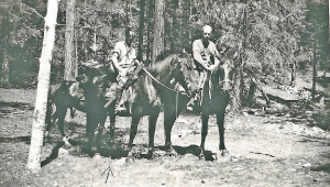 My dad, Otis Seligman hunting something in 1935 to 40? I remember the gun, saddle, and scabbard but not the horse. However we may not of had the horse by the time I was six or so. I recall to other horses we had. Location is most likely near our place on Cow Creek, NM. Other guy, I think, is our neighbor up there, Guermo(Sp?) Varela. Looks too early for deer season. In those days it could have been some subsistence hunting which tended to be overlooked by the wardens. Or could be coyote, bear or lion which were hunted for state bounty.