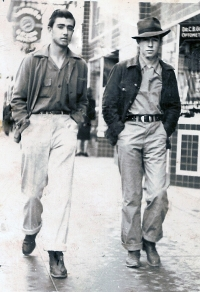 Frank Archibeque and friend circa 1941, Central Ave. in Albuquerque