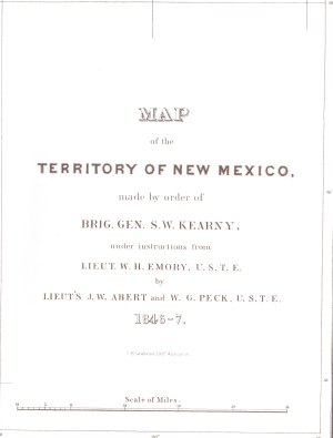 Stephen Watts Kearney Army of the West Map of New Mexico Title Page - 1846